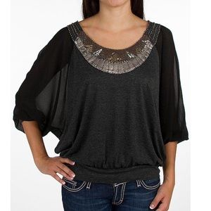 MISS ME | Charcoal Embellished Pieced Top